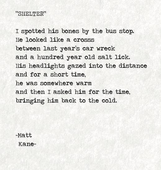 SHELTER - a poem by Matt Kane