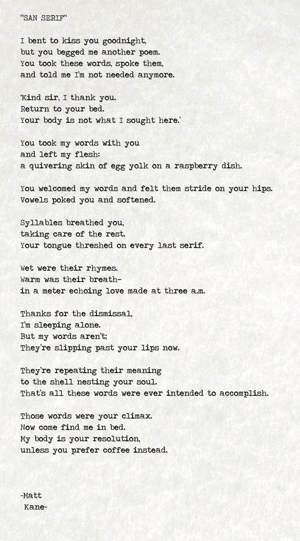 SAN SERIF - a poem by Matt Kane