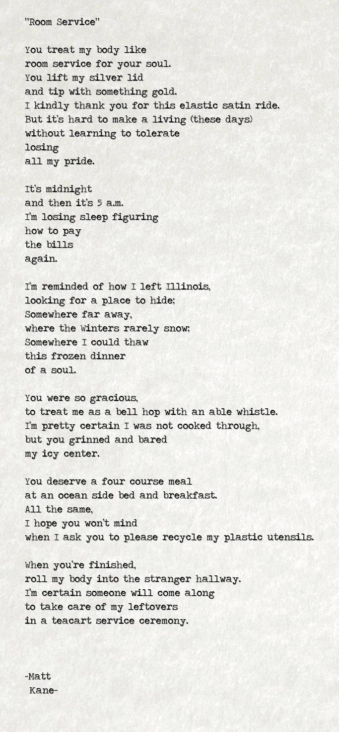 Room Service - a poem by Matt Kane