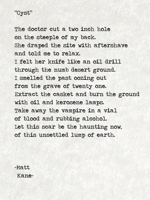 Cyst - a poem by Matt Kane