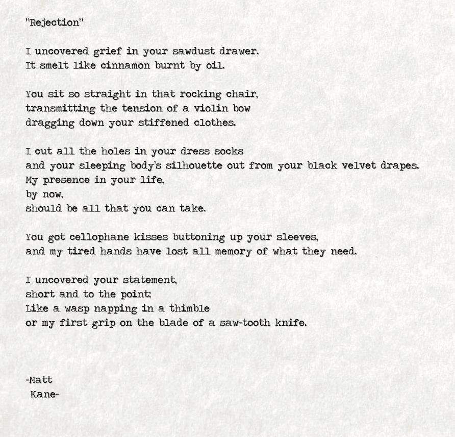 Rejection - a poem by Matt Kane