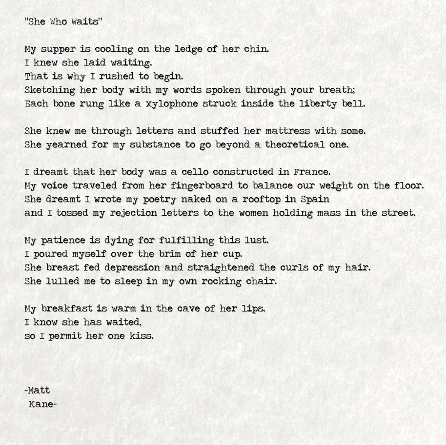 She Who Waits - a poem by Matt Kane