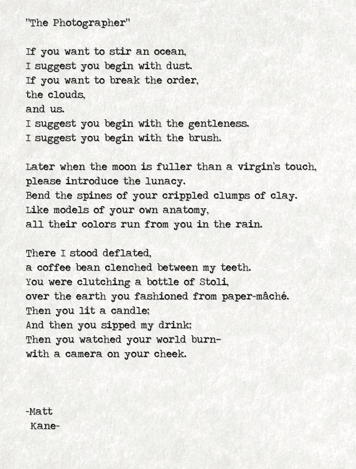 The Photographer - a poem by Matt Kane