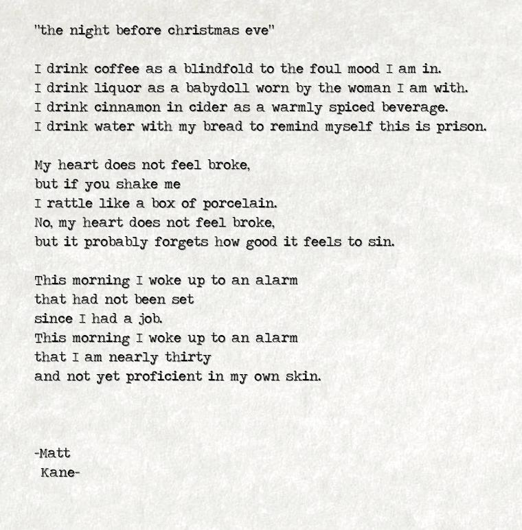 the night before christmas eve - a poem by Matt Kane