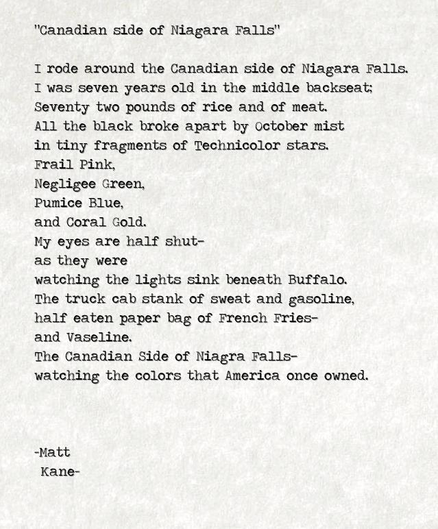 Canadian side of Niagara Falls - a poem by Matt Kane