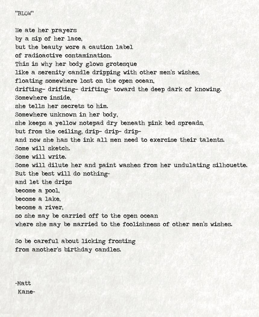 BLOW - a poem by Matt Kane