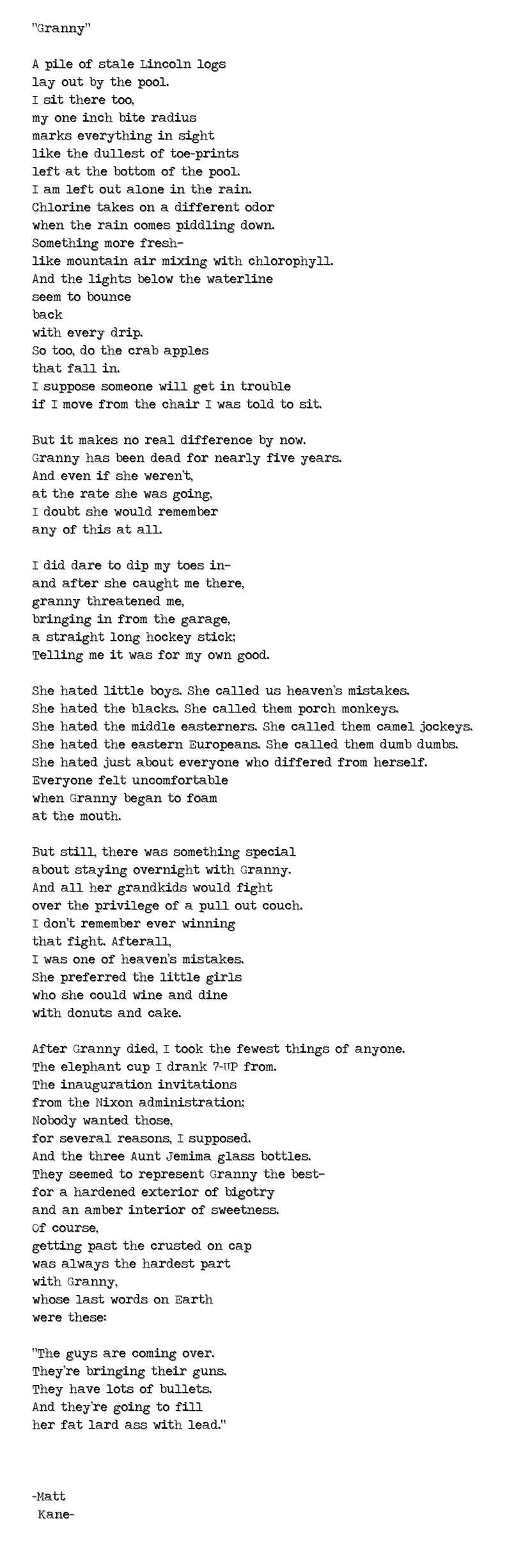 Granny - a poem by Matt Kane