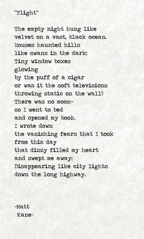 Flight - a poem by Matt Kane
