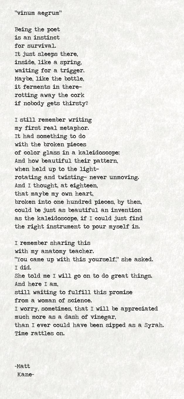 vinum aegrum - a poem by Matt Kane