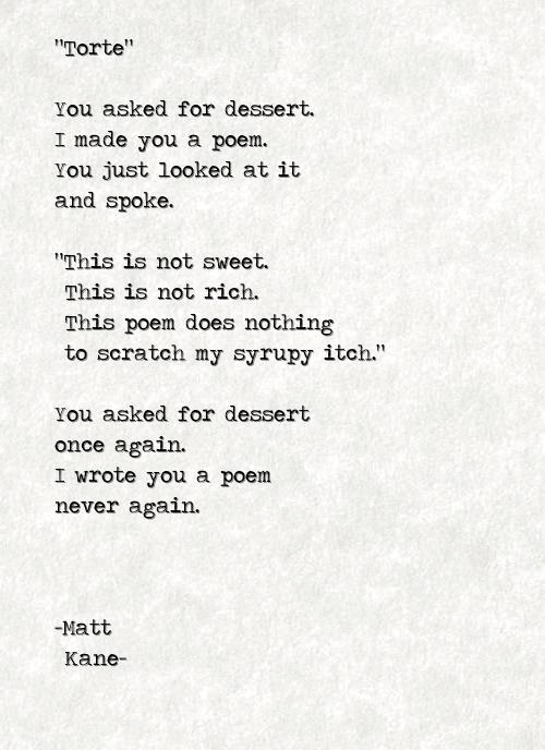 Torte - a poem by Matt Kane