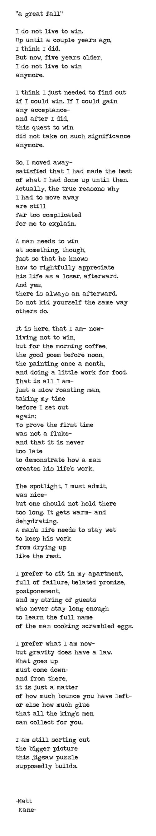 a great fall - a poem by Matt Kane