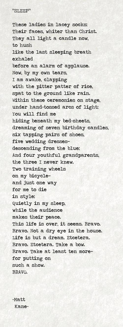 SLEEP - a poem by Matt Kane