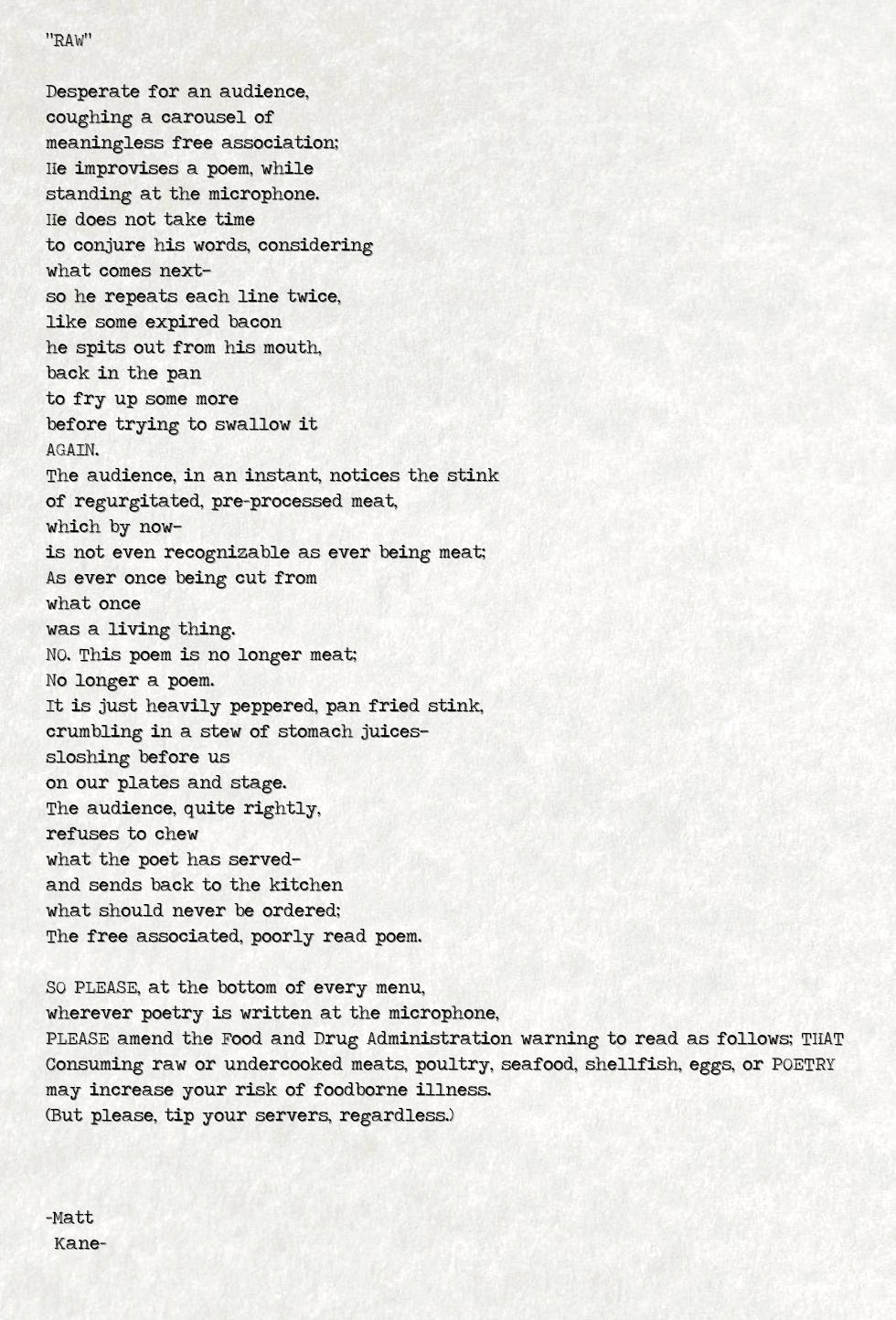 RAW - a poem by Matt Kane