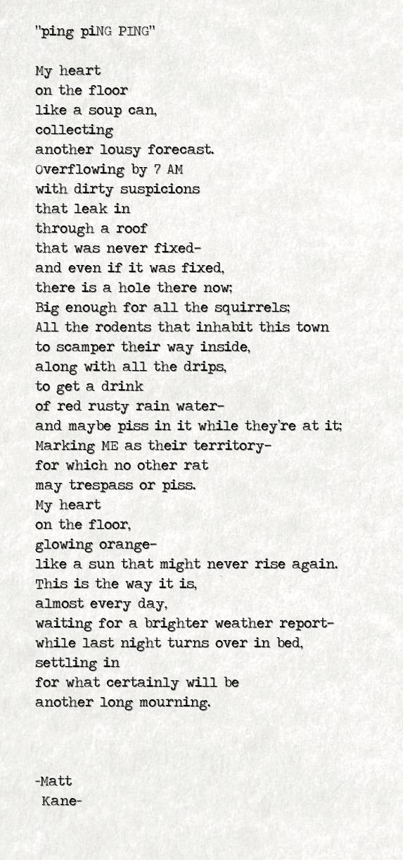 ping piNG PING - a poem by Matt Kane