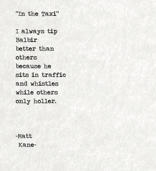 In the Taxi - a poem by Matt Kane