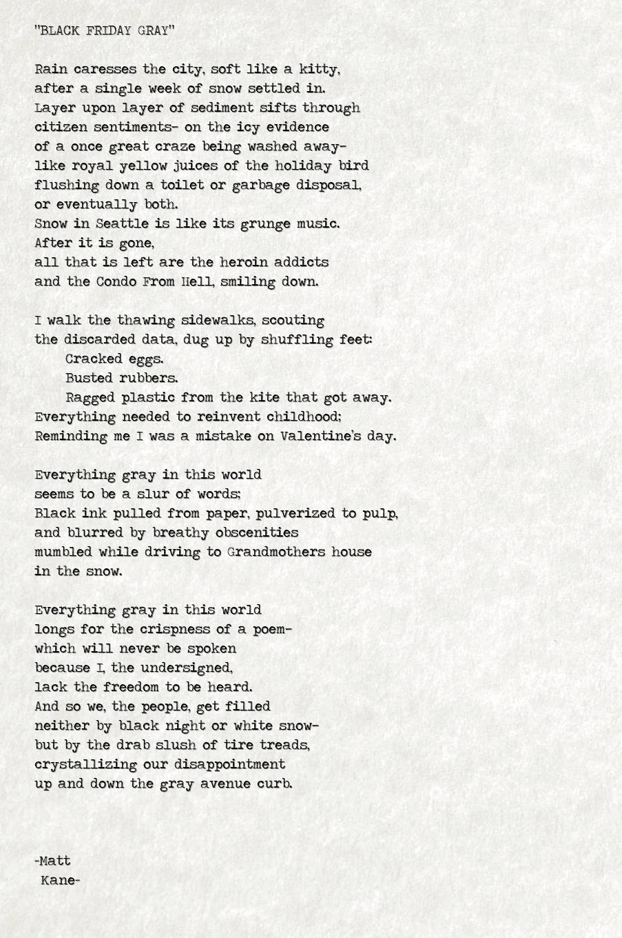 BLACK FRIDAY GRAY - a poem by Matt Kane