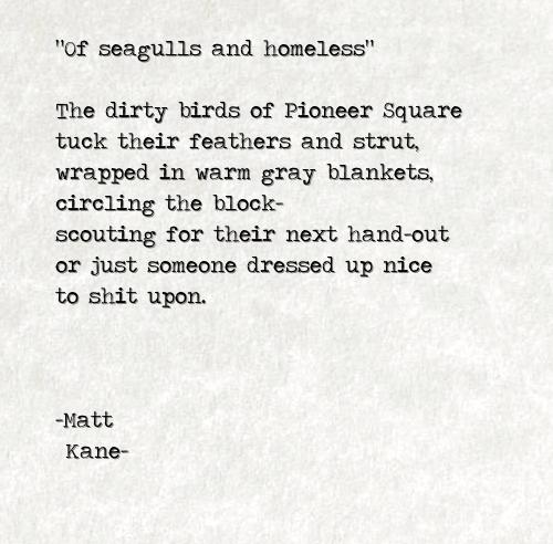 Of seagulls and homeless - a poem by Matt Kane