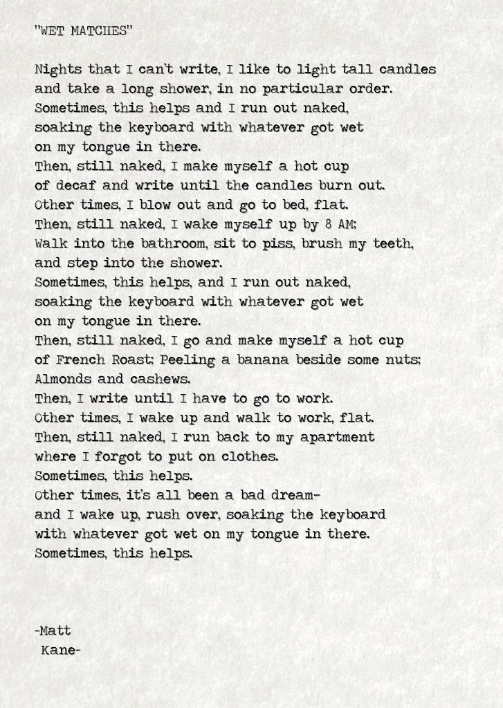 WET MATCHES - a poem by Matt Kane