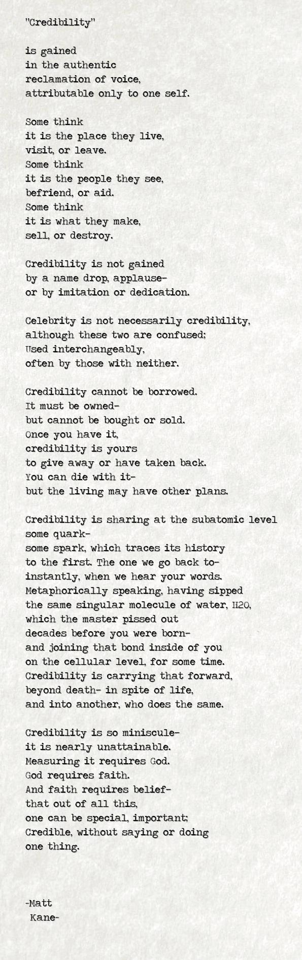 Credibility - a poem by Matt Kane