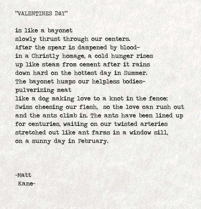 VALENTINES DAY - a poem by Matt Kane