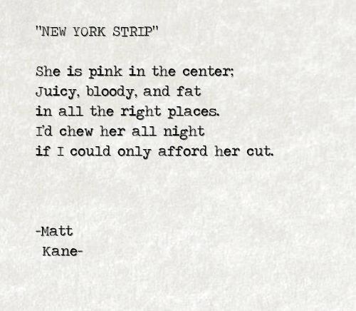 NEW YORK STRIP - a poem by Matt Kane
