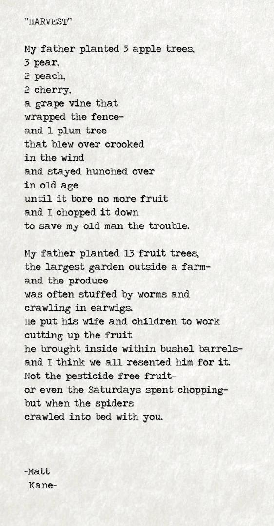 HARVEST - a poem by Matt Kane