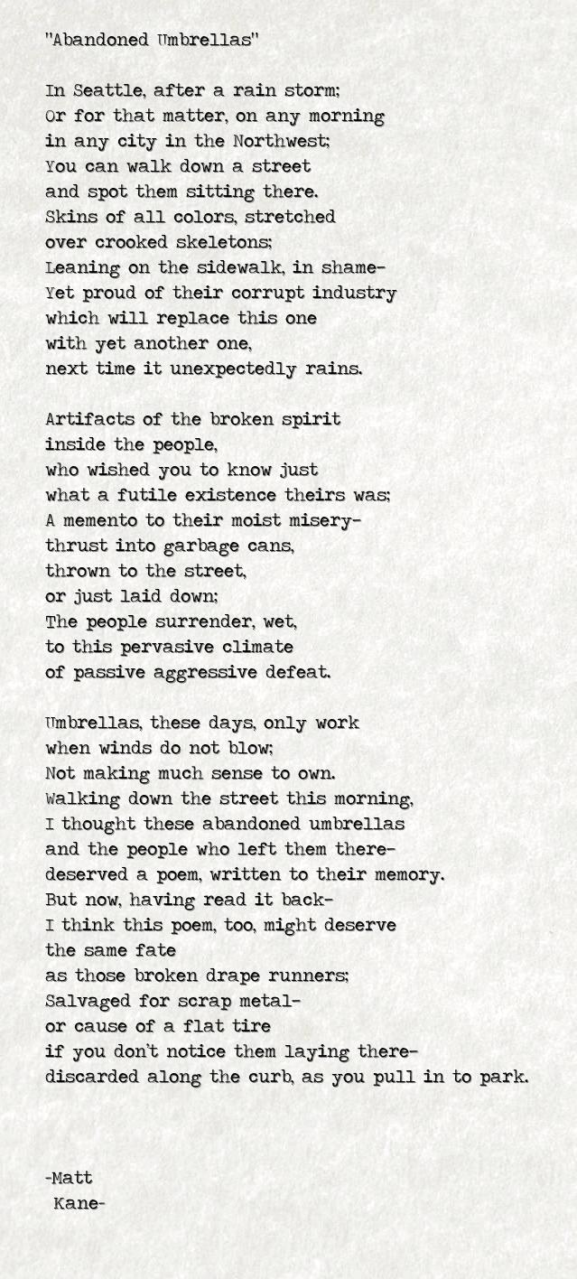 Abandoned Umbrellas - a poem by Matt Kane