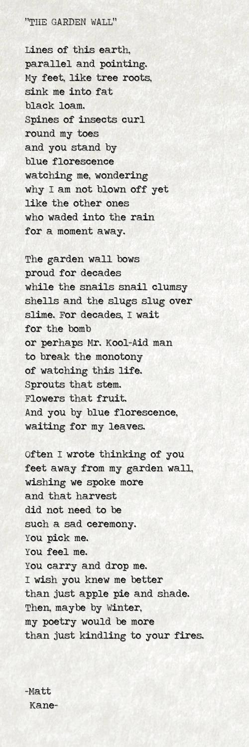THE GARDEN WALL - a poem by Matt Kane