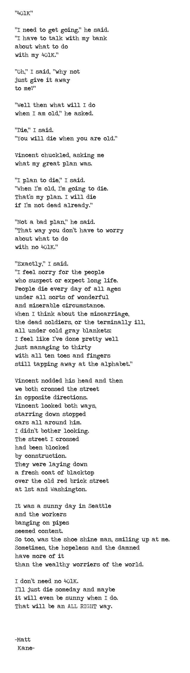 401K - a poem by Matt Kane