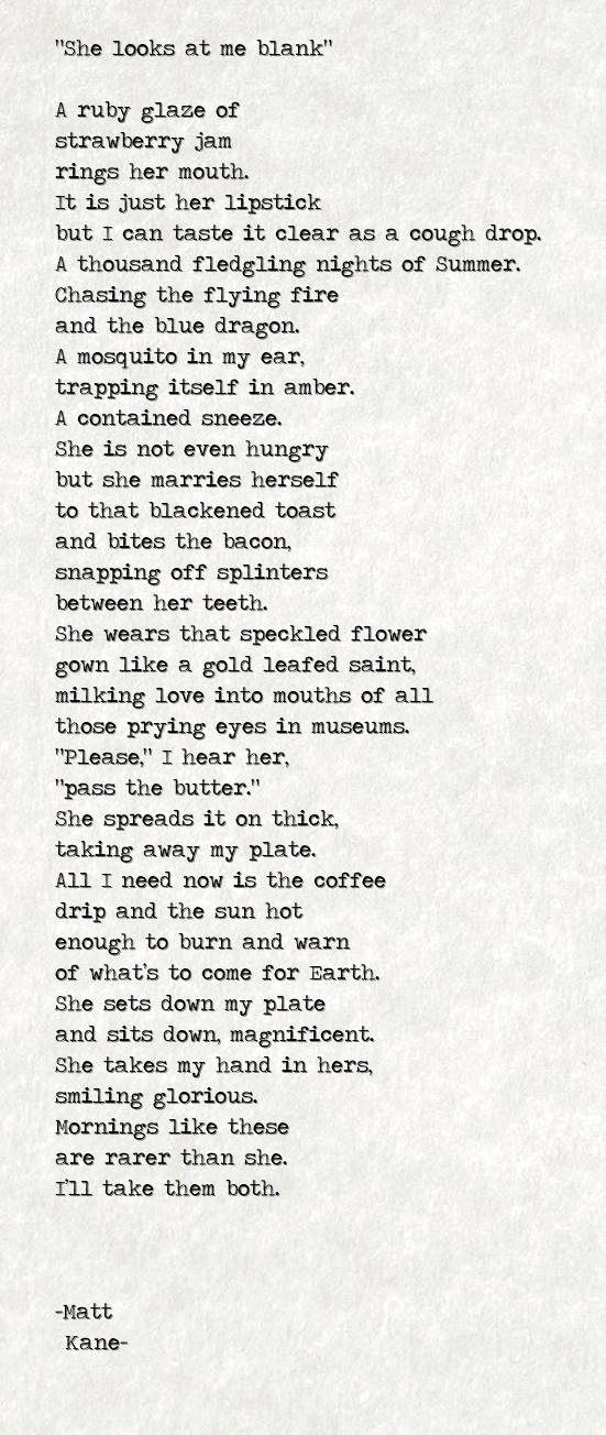 She looks at me blank - a poem by Matt Kane