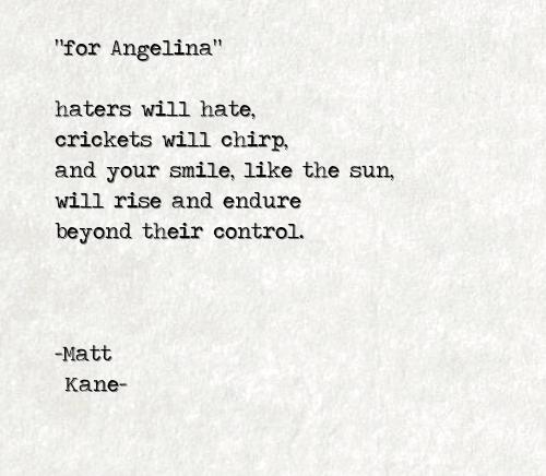 for Angelina - a poem by Matt Kane