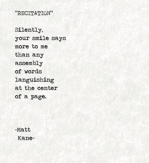 RECITATION - a poem by Matt Kane