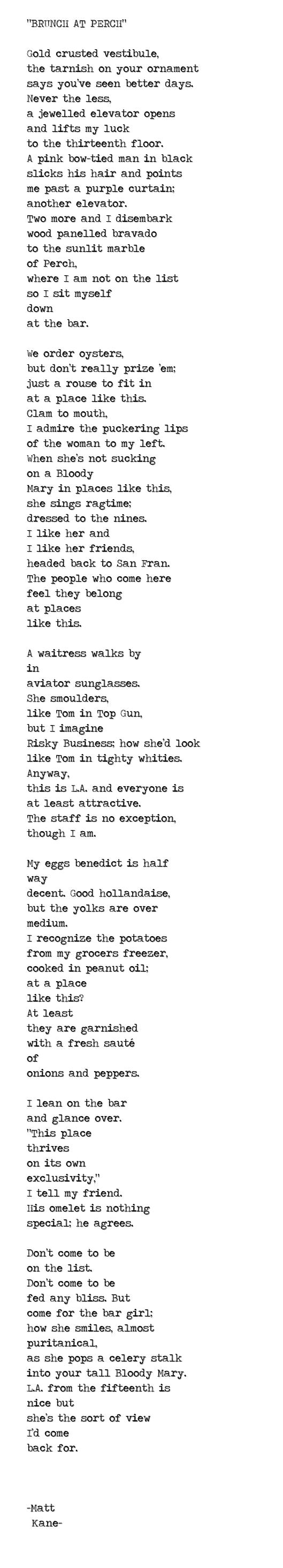 BRUNCH AT PERCH - a poem by Matt Kane