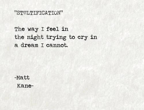 STULTIFICATION - a poem by Matt Kane