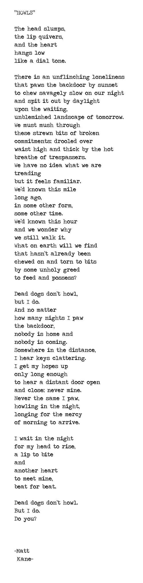 HOWLS - a poem by Matt Kane