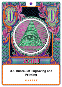 the all seeing eye rests inside a green pyramid. surrounded by an orange frame, the design looks like a dollar in the amount of zero