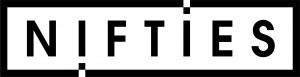 black and white logo for nifties.com