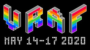 vraf logo in rainbow colors. may 14 - 17 2020